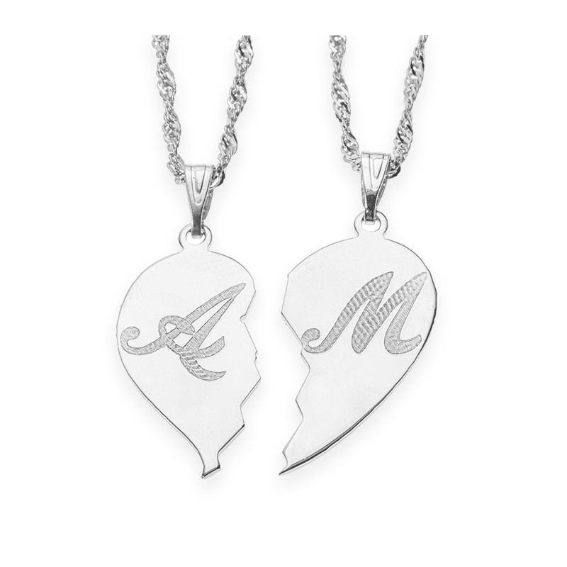 Silver broken heart initial couple necklace envyher personalized new silver broken heart initial couple necklace aloadofball