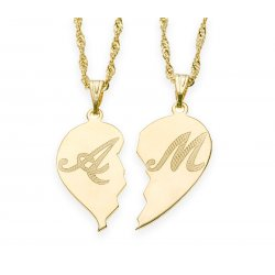 Broken Heart Gold Necklace with Name