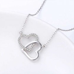 Intertwined hearts pendant necklace with zircon stones