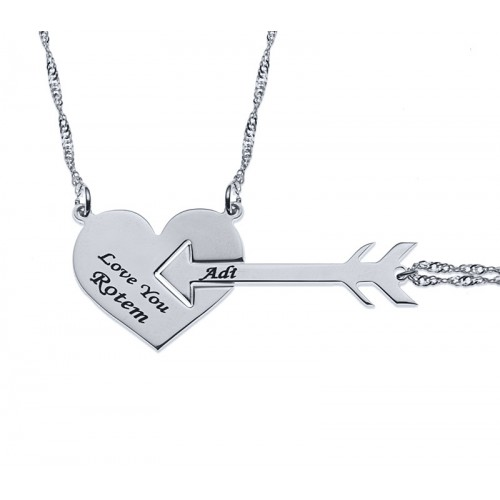 Sterling Silver Heart And Arrow Couple Necklace