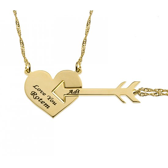 18K Gold Plated Heart And Arrow Couple Necklace