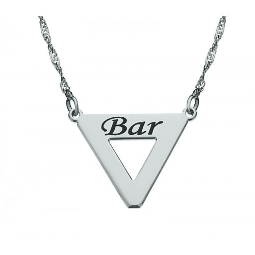 Sterling Silver Engraved Triangle Necklace