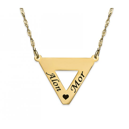 18K Gold Plated Triangle Necklace With 2 Names And Heart
