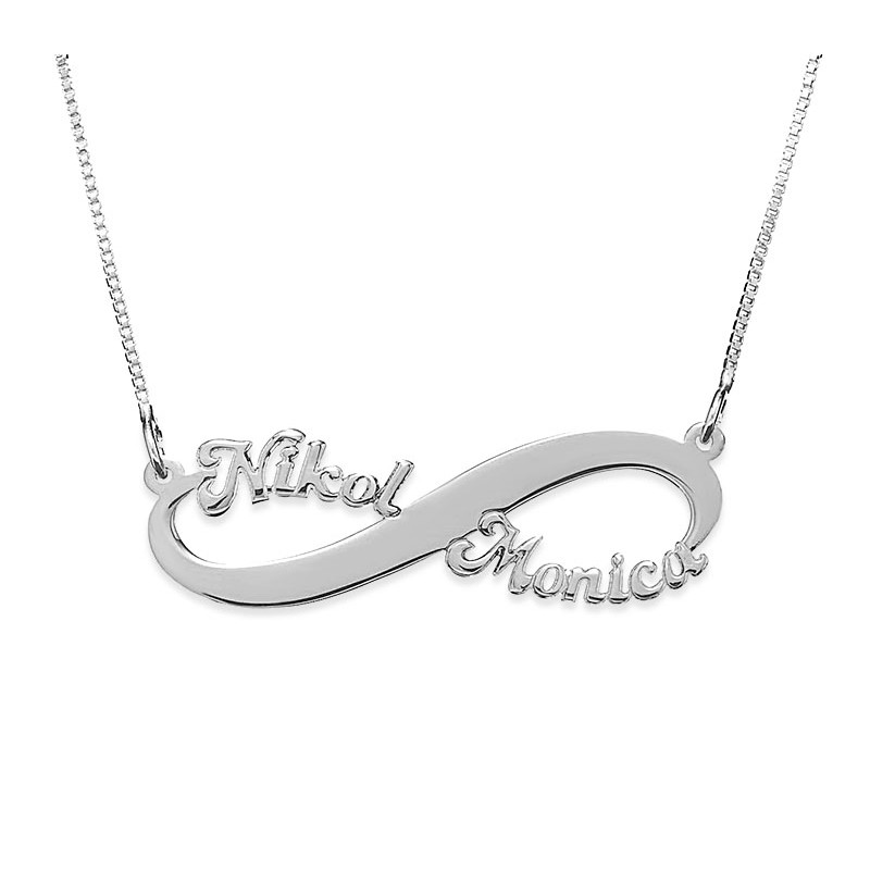 Silver Infinity Necklace With 2 Names