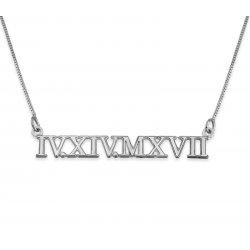 Roman Numeral Silver Necklace