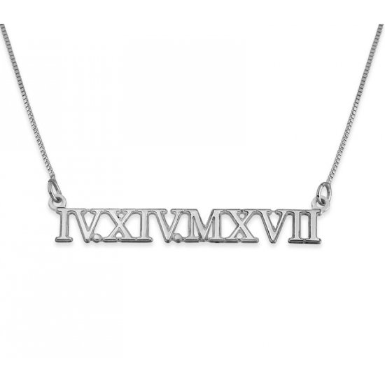 Roman Numeral Silver Necklace