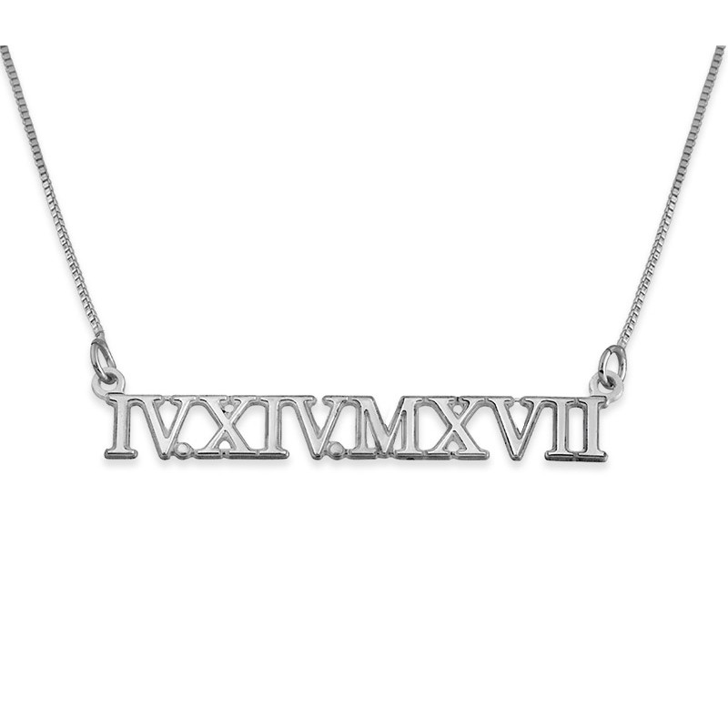 Silver Roman Numeral Necklace Envyher Personalized Jewelry
