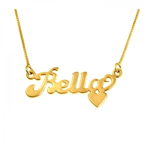 Name and Heart at the Bottom 18K Gold Plating