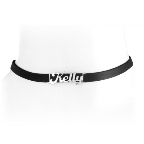 Sterling Silver Classic Name Necklace With Leather Choker
