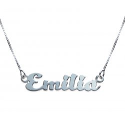 Sterling Silver Kitten Style Name Necklace