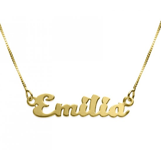 18K Gold Plated Kitten Style Name Necklace
