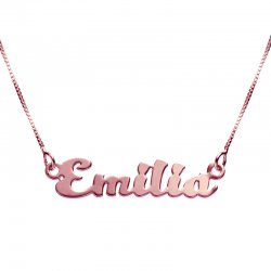 18K Rose Gold Plated Kitten Style Name Necklace