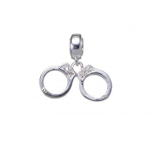 Silver handcuffs charm