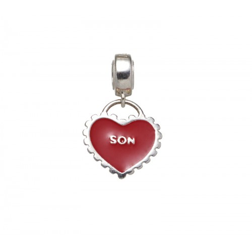 Red and silver son in heart charm