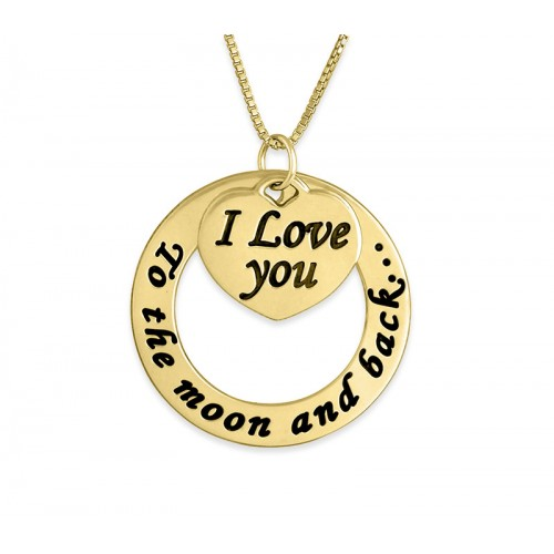 18K Gold Plated Engraved Circle And Heart Necklace