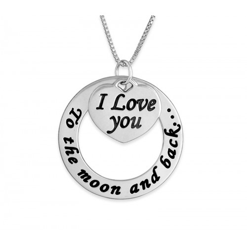 Sterling Silver Engraved Circle And Heart Necklace