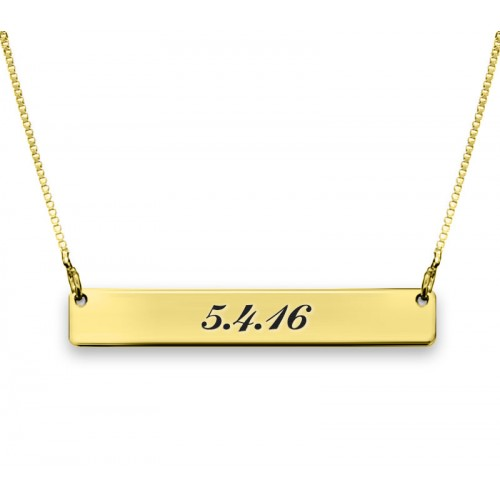 Gold Plated Two-Sided Engraved Bar Necklace