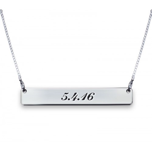 Two  Sides Engraved Bar Necklace