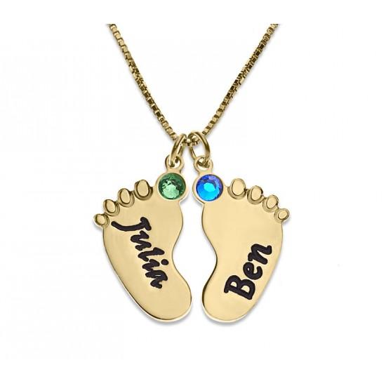 Baby Feet Engraved Necklace With Swarovski Birthstone