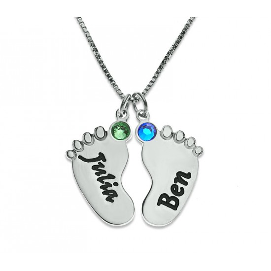 Sterling Silver Baby Feet Engraved Necklace With Swarovski Birthstone