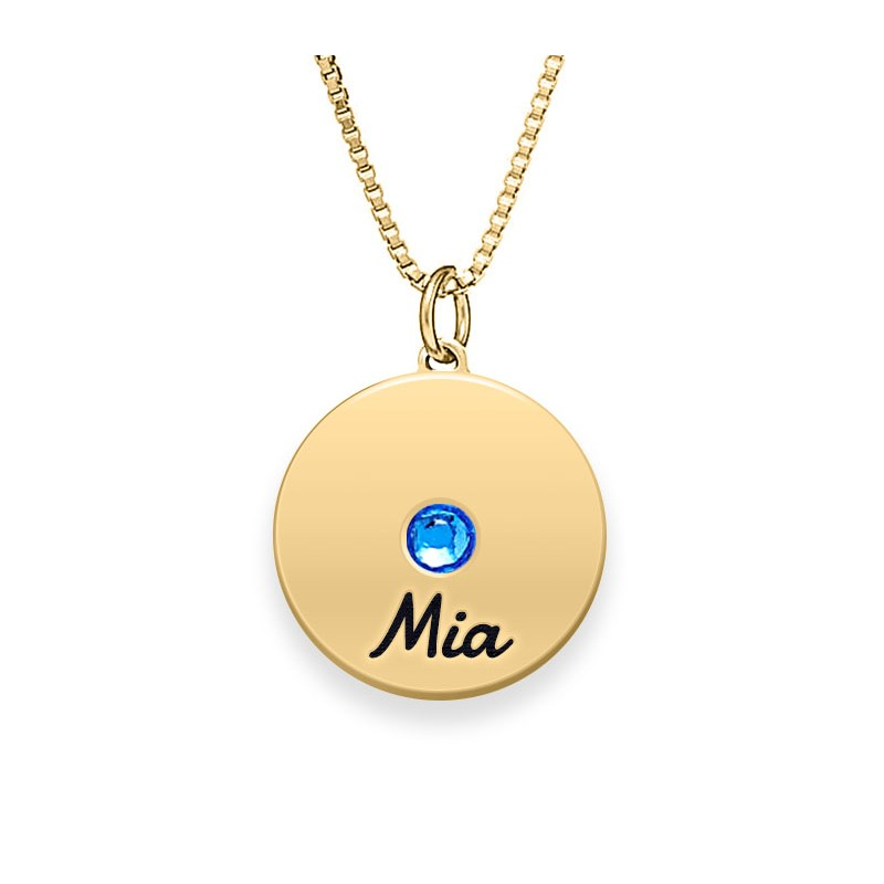 Engraved Disc Necklace With Birthstone