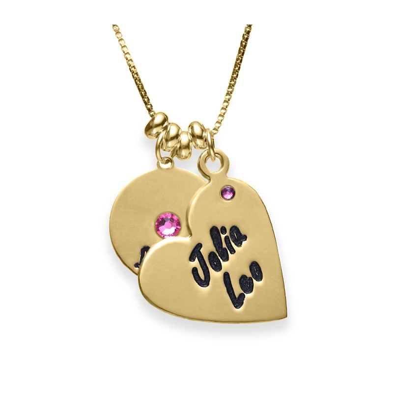 18K Gold Plated Disc And Heart Necklace With Swarovski Birthstone