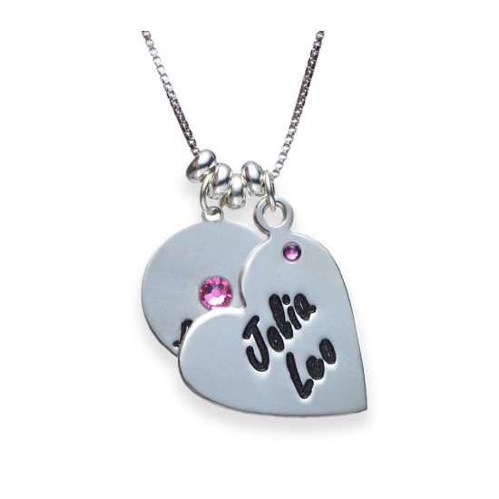 Silver Disc And Heart Necklace With Swarovski Birthstone