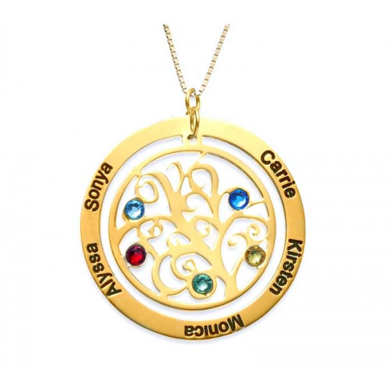 cubic image zirconia life tree products long cz gold of add birthstone charms necklace birthstones family rose
