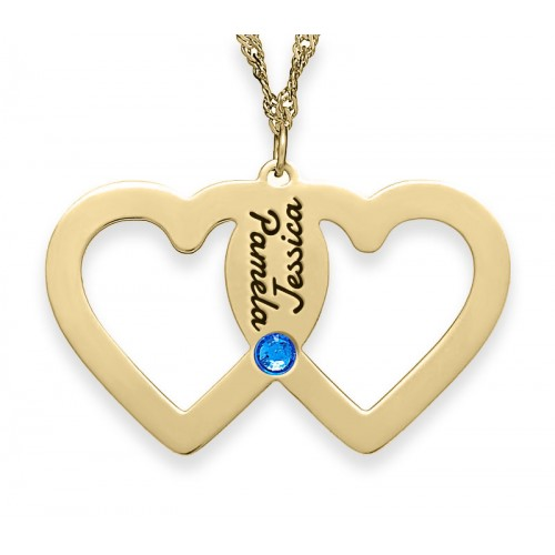 Gold Plated Intertwined Hearts Necklace With Swarovski Birthstone