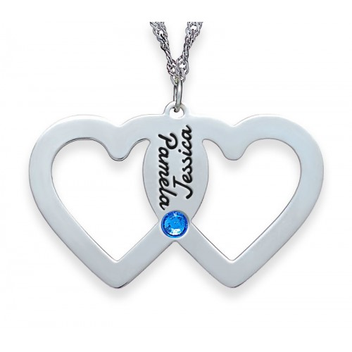 Sterling Silver Bonded Hearts Necklace With Swarovski Birthstone