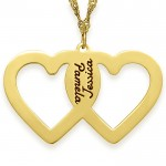 18K Gold Plated Engraved 2 Hearts Necklace