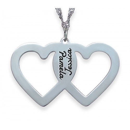 Silver Engraved 2 Hearts Necklace