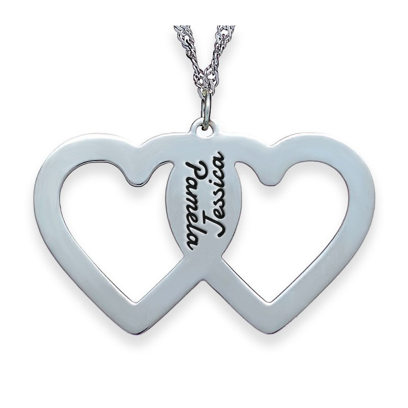 Silver engraved 2 hearts necklace envyher personalized jewelry silver engraved 2 hearts necklace aloadofball Gallery