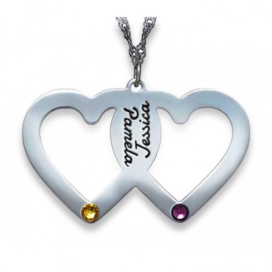 Silver 2 Names 2 Hearts & 2 Birthstones Necklace