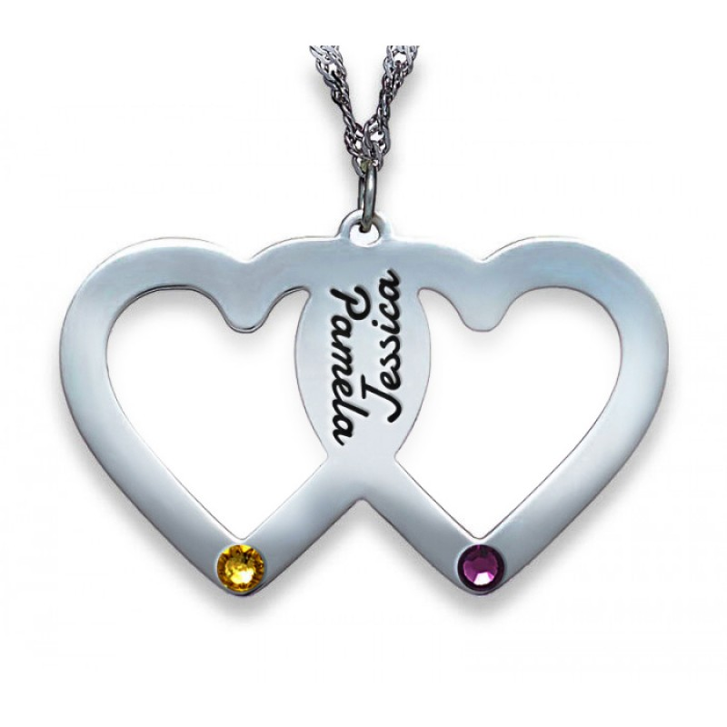 Silver 2 names 2 hearts 2 birthstones necklace envyher silver 2 names 2 hearts 2 birthstones necklace aloadofball Images