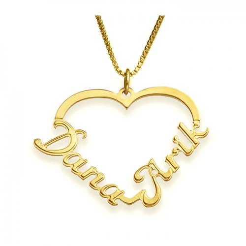 Two Names & Heart Necklace