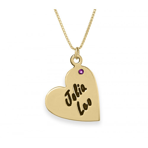 Engraved Heart Necklace With a Birthstone