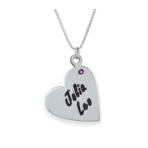 Silver Heart Necklace Engraved with a Birthstone