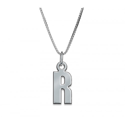Silver  One Letter Necklace
