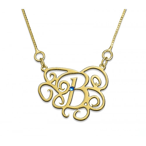 18K Gold Plated Monogram Necklace With Zirconia