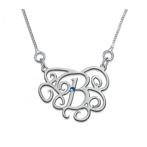 Sterling Silver Monogram Necklace With Zirconia