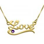 Classic Name Necklace With Underline And Swarovski Birthstone