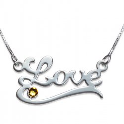 Sterling Silver Classic Name Necklace With Underline And Swarovski Birthstone
