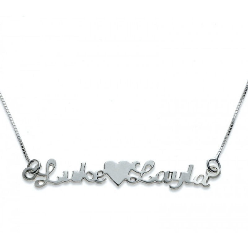Silver 2 Names and Heart in Between Necklace| EnvyHer ...