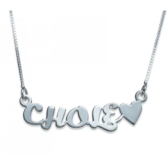 Silver Name and Heart Necklace