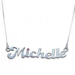 Sterling silver Name Necklace with Swarovski Birthstone