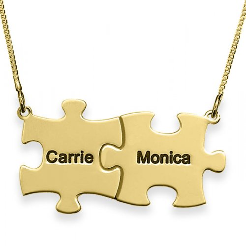 Engraved family Puzzle Necklace