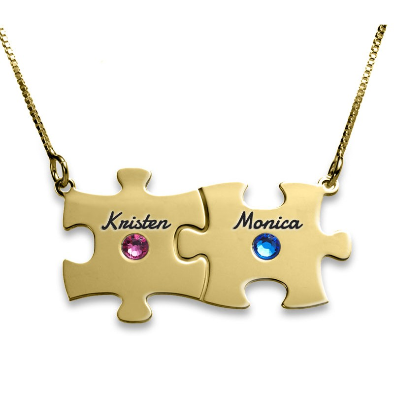 18K Gold Plated Engraved Family Puzzle Necklace With Swarovski Birthstone