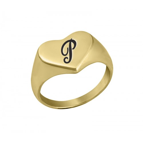 18K Gold Plated Heart Shaped Signet Ring