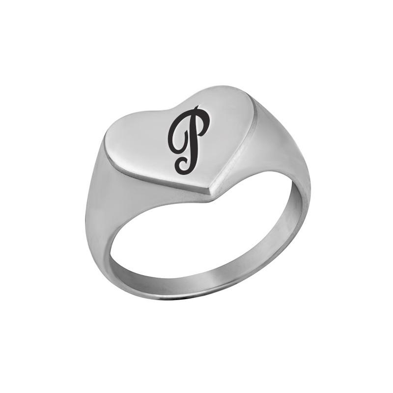 18th Birthday Cz T Bar Sterling Silver Heart Bracelet Can: Sterling Silver Heart Shaped Signet Ring